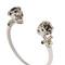 Twin skull brass cuff bracelet