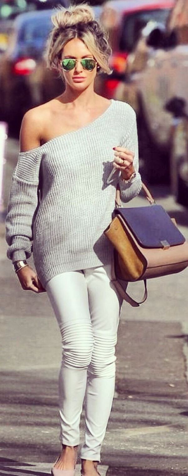 Sweater: grey sweater, grey, grey sweater, off the shoulder ...