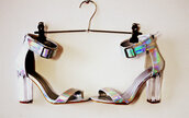shoes,heels,holo,holographic,rainbow,silver,clear,silver heels,buckles,straps,strappy heels,cape robbin,hologram´,vue boutique,holographic shoes