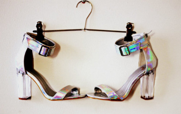 shoes heels holo holographic holographic rainbow silver clear silver heels holographic buckles straps strappy heels cape robbin hologram´ vue boutique holographic shoes