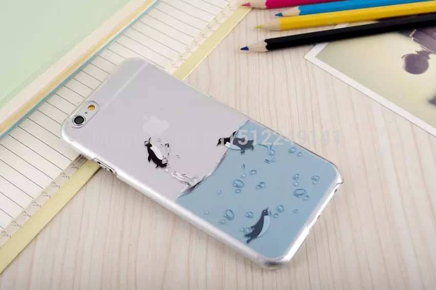 New Three Style For Apple Iphone 6 Plus Case Transparent 3D Water Dolphins Penguins Seals Grasp The Logo Cell Phone Cases Covers In Bags From