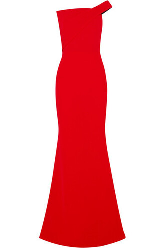 gown wool red dress