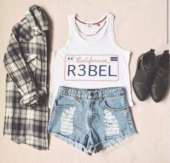 california top rebel t-shirt nosleeves no sleeves blouse