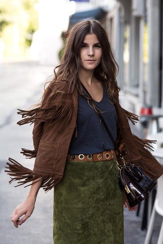 the fashion fraction blogger jacket skirt belt shoes bag patent leather bag leather bag fringed jacket suede jacket brown jacket green skirt suede skirt fall outfits fall colors boho jacket fall skirt suede patent bag