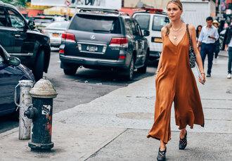 look de pernille blogger jumpsuit rust silk