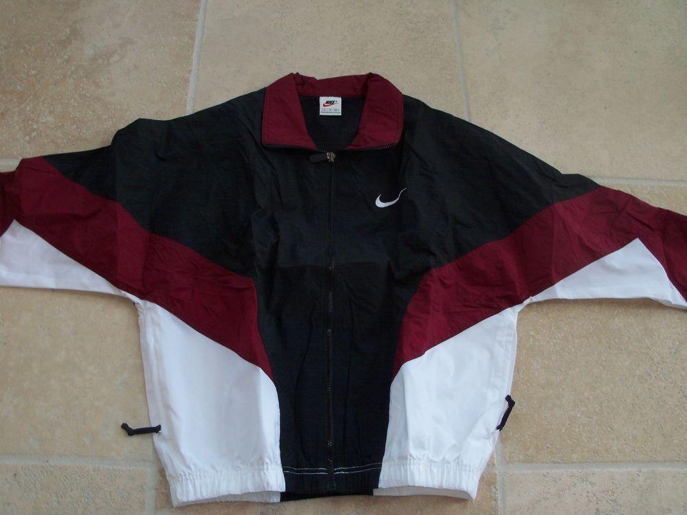 Nike Nylon Windbreaker SZ;XL. Wine/White/Blk 1996 Dead Stock NEW, Vintage