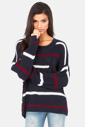 Cute Navy Blue Sweater - Striped Sweater - Knit Sweater - $48.00