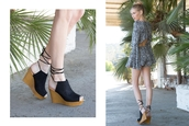 shoes,wedges,lace up wedges,trendy,fashion,brown wedge,style,peep toe,boho,qupid,black wedges