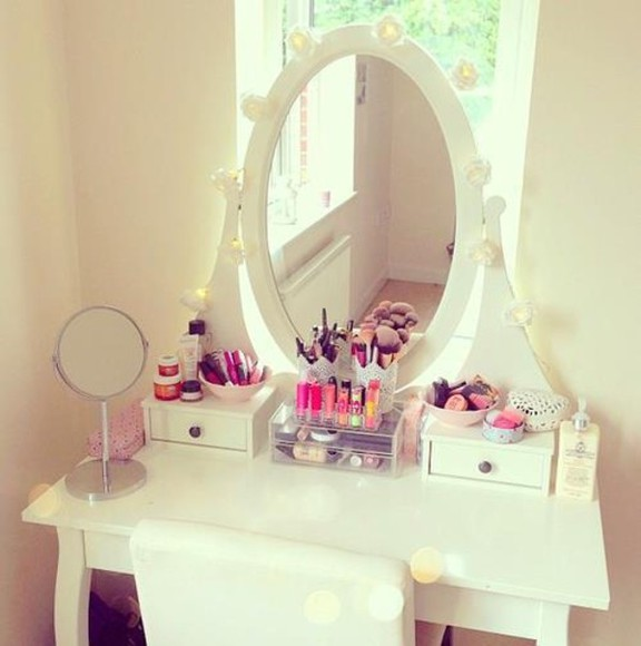 pink make-up white mirror light light blue