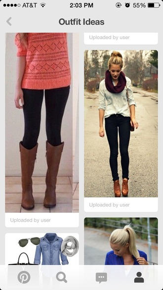 top denim top burgundy sweater brown boots boots dark purple lipstick timberland boots shoes scarf shoes shirt
