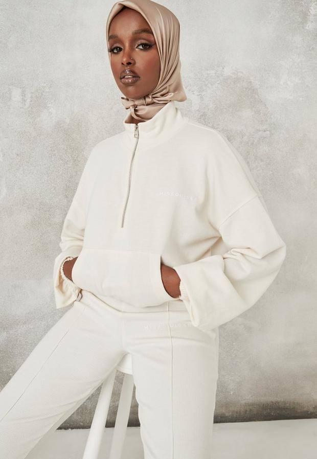 Ivory Missguided Half Zip Sweatshirt
