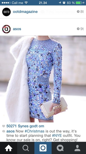 dress asos blue dress frozen crystal new year's eve newyears dress sale love