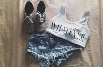 shorts whatever top bra jeans distressed stone wash underwear