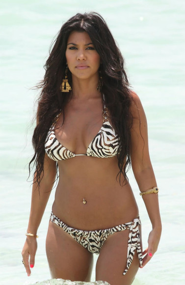 kourtney kardashian swimwear animal print bikini