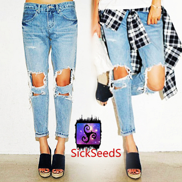 loose ripped jeans - Jean Yu Beauty