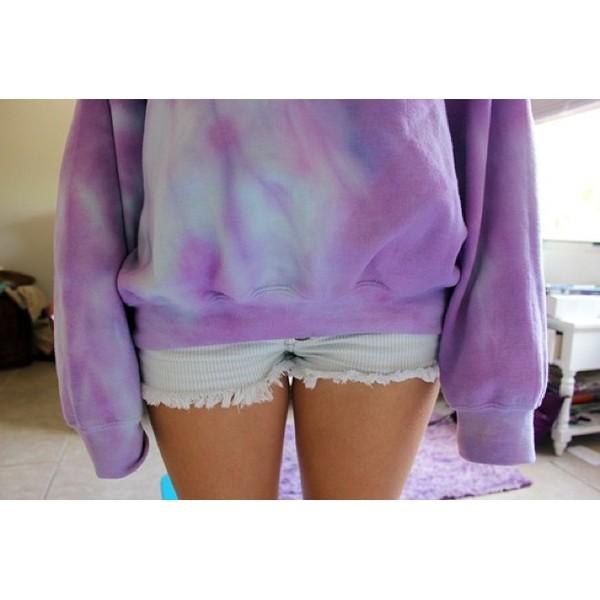 sweater tie dye shorts cute oversized