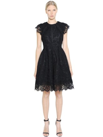 dress pleated lace cotton black