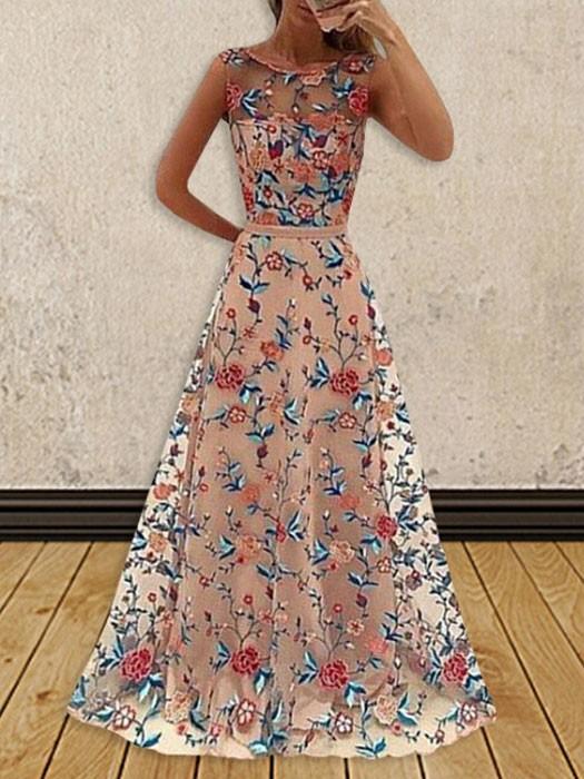 Vintage Long Evening Dress Pink Flowers Embroidery Gauze Sleeveless High Waist Summer Dress - WSDear.com