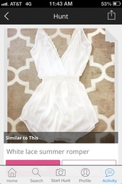 dress,white deep v neck romper