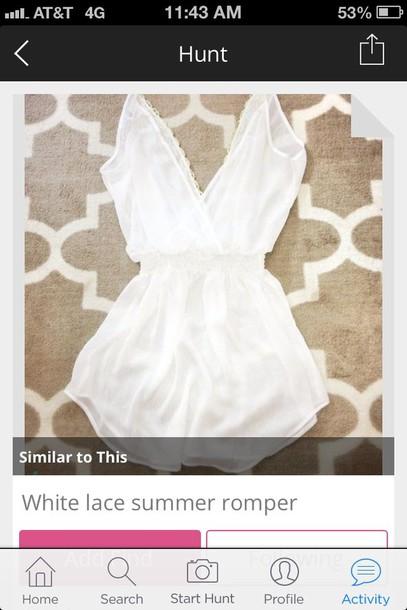 dress white deep v neck romper