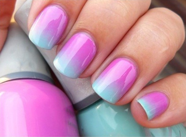 Nail Polish Nails Light Blue Ombre Gradient Art