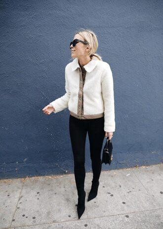 jacket tumblr white jacket denim jeans black jeans skinny jeans bag boots black boots sunglasses