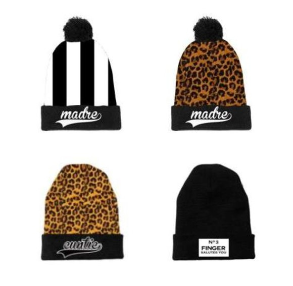 hat streetwear streetstyle swag supreme no3finger beanie leopard print cheetah animal print stripes stripped black and white madre black&white b&w dope obey new era