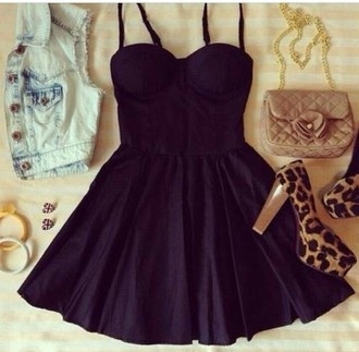 dress black girly fashion style short dress