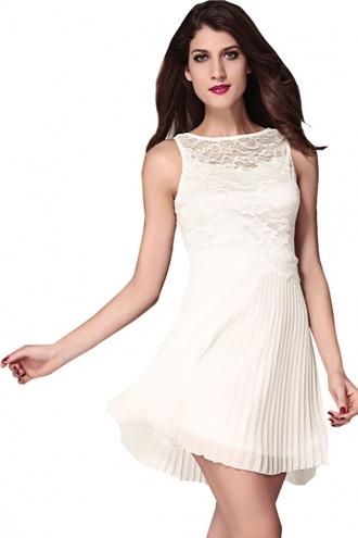 dress ivory dress lace dress pleated skater dress sleeveless