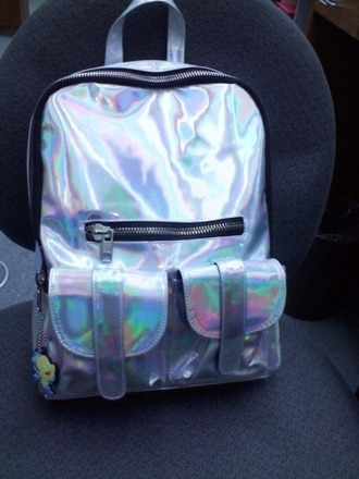 bag rainbow silver zip backpack holographic cool cute metallic handbag school bag shiny silver metallic fluo shiny multicolor pockets rucksack abstract holographic bag canvas style backpack