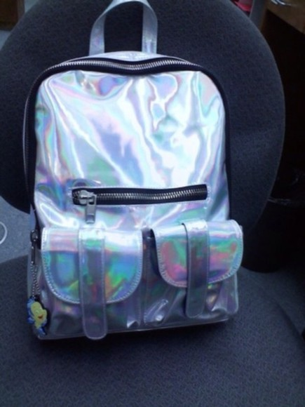 bag backpack holographic bag, backpack, silver holographic, backpack, bag, rainbow silver zip back pack cool cute metallic handbag school bag shiny silver metallic fluorescent shiny multicolor pockets rucksack abstract metalic backpack, 90s, bag, hipster holographic backpack holographic bag