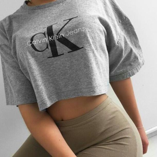 best prices official exquisite design t-shirt, grey crop top, calvin klein crop top, calvin klein ...