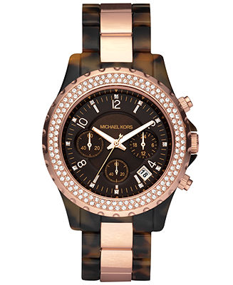 Michael Kors Women's Chronograph Madison Tortoise Acetate and Rose Gold-Tone Bracelet Watch 42mm MK5416 - Watches - Jewelry & Watches - Macy's