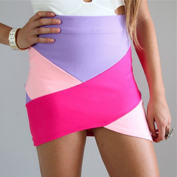 skirt bandage bodycon body con pink lilac mini mini skirt