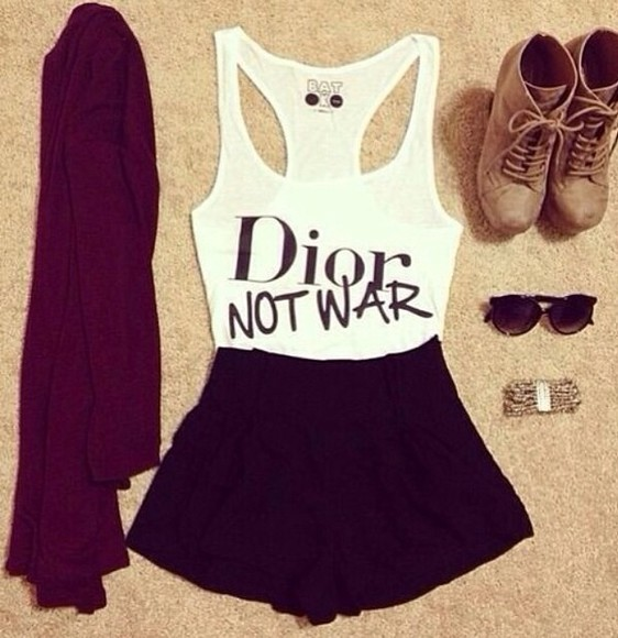 skirt t-shirt shirt top black white cute fashion style cardigan brown high heels vintage quote on it