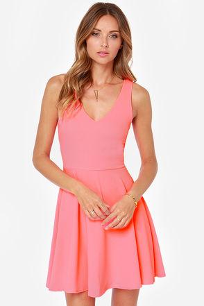 Cute Neon Pink Dress - Skater Dress - $47.00