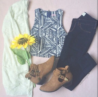 top cardigan sunflower boots jeans