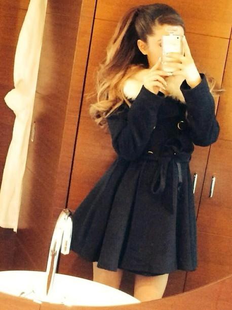 black coat ariana grande girly