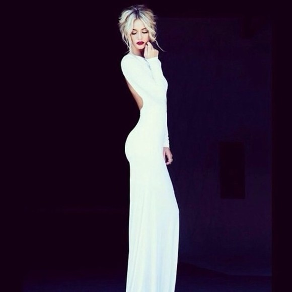 dress white dress long sleeve dress open back fitted dress prom dress backless dress backless white dress long sleeve long dress floor length white long backless dress white backless prom dresses blackless