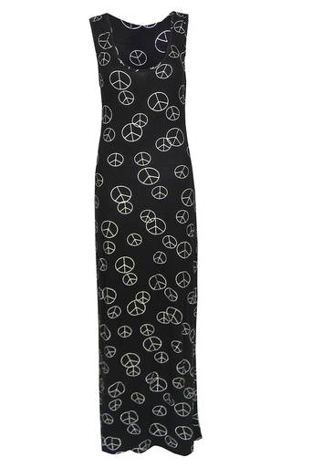 Ladies Jyoti Black Maxi Dress with Silver Peace signs | Pop Couture