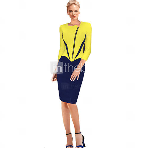 [$23.99] 2015 Autumn Women Clothing Couture Temperament Inclined Neck Zipper Cropped Sleeve Color Mosaic Pencil Dress
