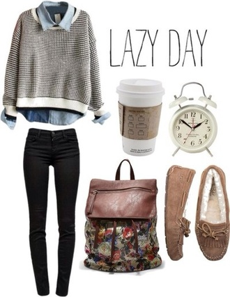 sweater cute casual sweater cute shoes pretty flats brown shoes black jeans cute top cute bags floral bag skinny jeans bag shoes stylish outfit casual winter outfits grey sweater lazy day dark jeans artsy moccasins laid back