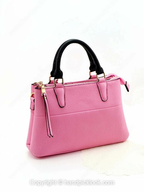 Pink PU Zipper Fashion Handbag - HandpickLook.com