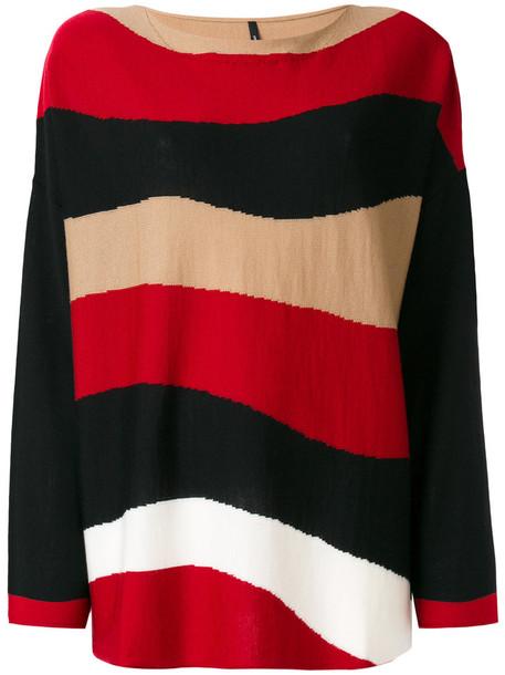 Pierantoniogaspari - striped jumper - women - Virgin Wool - 44, Red, Virgin Wool