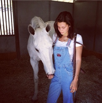 jeans overalls bellahadid