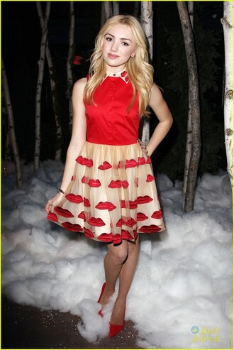 dress fashion week red disney peyton list shoes lips kisses kiss gold silk peyton list dress fashion outfit summer outfits smoke