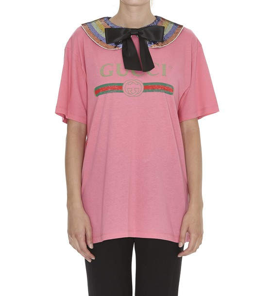 gucci bow lady pink top