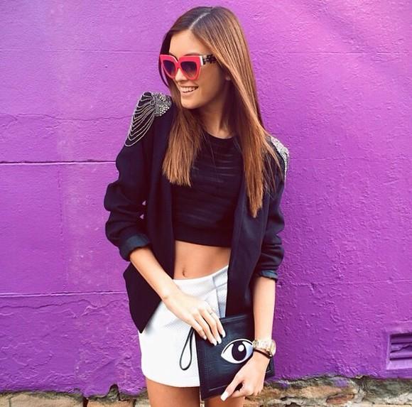 bag eye top sunglasses purse skirt