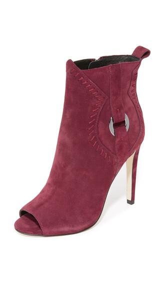 open dark booties shoes