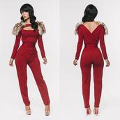 jumpsuit,burgundy,loub,louboutin,nude high heels